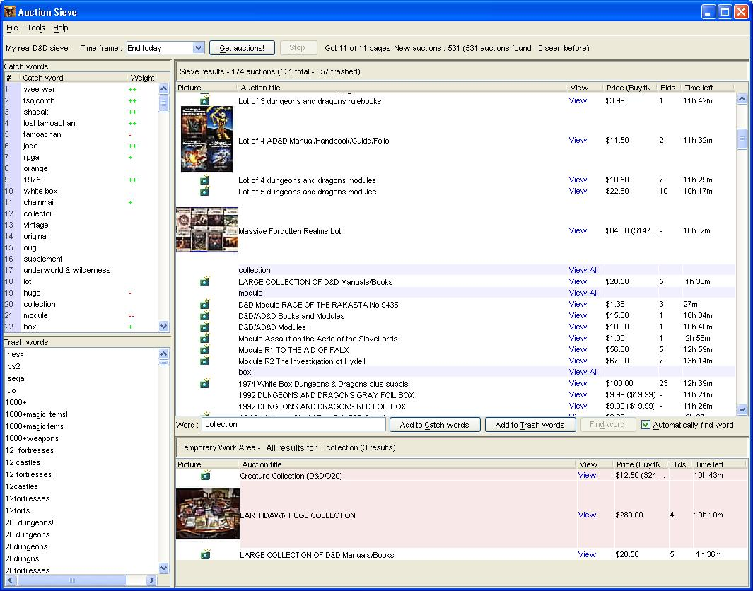 Click to view AuctionSieve 2.6.7 screenshot